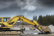 Bulldozer Prints - Giant Bulldozers In Action Print by Christian Lagereek