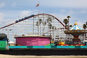Roller Coasters Framed Prints - Giant Dipper At The Santa Cruz Beach Boardwalk California 5D23659 Framed Print by Wingsdomain Art and Photography