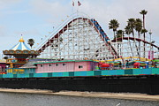 Roller Coasters Framed Prints - Giant Dipper At The Santa Cruz Beach Boardwalk California 5D23707 Framed Print by Wingsdomain Art and Photography