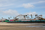 Roller Coasters Framed Prints - Giant Dipper At The Santa Cruz Beach Boardwalk California 5D23709 Framed Print by Wingsdomain Art and Photography