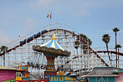 Roller Coaster Posters - Giant Dipper At The Santa Cruz Beach Boardwalk California 5D23719 Poster by Wingsdomain Art and Photography
