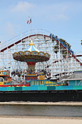 Roller Coaster Posters - Giant Dipper At The Santa Cruz Beach Boardwalk California 5D23721 Poster by Wingsdomain Art and Photography