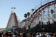 Roller Coaster Posters - Giant Dipper At The Santa Cruz Beach Boardwalk California 5D23930 Poster by Wingsdomain Art and Photography