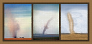 Dust Mixed Media Framed Prints - Giant Dust Devil Triptych Framed Print by Steve Ohlsen