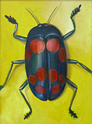 Close Up Painting Metal Prints - Giant Fungus Beetle Metal Print by Laura Dozor