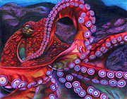 Octopus Drawings - Giant Pacific Octopus by Erick Villegas by California Coastal Commission