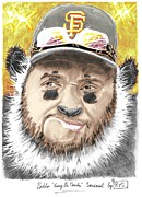 Baseballplayer Mixed Media Prints - Giant Panda Print by Bas Van Sloten