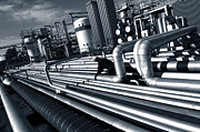 Pipelines Acrylic Prints - Giant Pipeline Construction Inside Oil Refinery Acrylic Print by Christian Lagereek