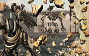 Destruction Digital Art - Giant Robots Demolishing Old Neglected by Mark Stevenson