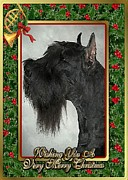 Giant Schnauzer Framed Prints - Giant Schnauzer Dog Christmas Framed Print by Olde Time  Mercantile