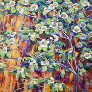 Sequoia Paintings - Giant Sequoia with Dogwood Blossoms by Joy Collier