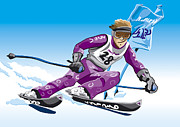 Competition Prints - Giant Slalom Skier Winter Sport Print by Frank Ramspott