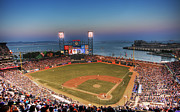 San Francisco Giants Photo Prints - Giants Ballpark at Night Print by Shawn Everhart