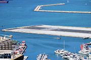 Outdoor Airport Posters - Gibraltar Bay and Airport Runway Poster by Artur Bogacki