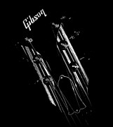 Black Top Digital Art - Gibson Les Paul Headstock by Rosemarie E Seppala