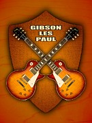 Gibson Mixed Media - Gibson les paul standart  shield by Doron Mafdoos