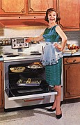 Flyers Drawings Prints - Gibson Ultra 600 1950s Usa Cooking Print by The Advertising Archives