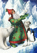 Santa Claus Posters - Gift of Peace Poster by Lynn Bywaters