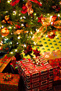 Anticipation Photo Posters - Gifts under Christmas tree Poster by Elena Elisseeva