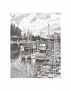 Nautical Drawings - Gig Harbor Entrance by Jack Pumphrey