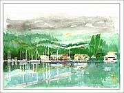 Note Cards Drawings Prints - Gig Harbor waterfront Print by Jack Pumphrey