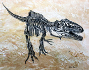 Dinosaurs Painting Prints - Giganotosaurus skeleton Print by Harm  Plat