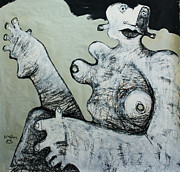 Charcoal Mixed Media Posters - Gigantes No. 1  Poster by Mark M  Mellon
