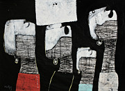 Charcoal Mixed Media Metal Prints - Gigantes No. 10 Metal Print by Mark M  Mellon