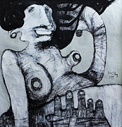Primitive Mixed Media Prints - Gigantes No. 3 Print by Mark M  Mellon