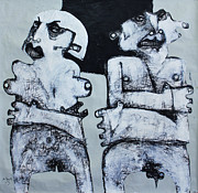 Charcoal Mixed Media Metal Prints - Gigantes No. 4 Metal Print by Mark M  Mellon