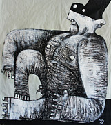 Charcoal Mixed Media Metal Prints - Gigantes No. 5 Metal Print by Mark M  Mellon