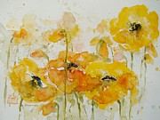 Giggling Paintings - Giggling Yellow Poppies by Deborah Carman