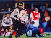 Soccer Painting Framed Prints - Giggs goal v Arsenal Framed Print by David Rives