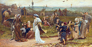 Gilbert Paintings - Gilbert a Beckets Troth the Saracen Maiden entering London at Sundow  by George John Pinwell
