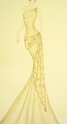 Evening Wear Framed Prints - Gilded Meadow Gown Framed Print by Christine Corretti