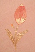 Bloom Pastels - Gilded Pink Rose Bud by Christine Corretti