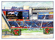 Nfl Drawings Prints - Gillette Holidays Print by Dave Olsen
