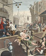 Gin Lane, Illustration From Hogarth Print by William Hogarth