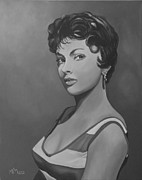 Monotone Paintings - Gina Lollobrigida by Antonio Marchese