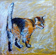 Orange Cat Pastels Posters - Ginger Cat Poster by Susan Robinson