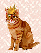 Cat Prints Digital Art Framed Prints - Ginger cat with Crown Full Framed Print by Kelly McLaughlan