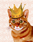 Cat Prints Digital Art Framed Prints - Ginger cat with crown portrait Framed Print by Kelly McLaughlan