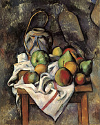 Gar Painting Posters - Ginger Jar and Fruit Poster by Paul Cezanne