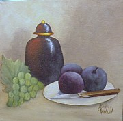 Barbara Haviland Framed Prints - Ginger Jar and Plums with Grapes Framed Print by Barbara Haviland