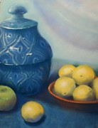 Red Photographs Pastels Posters - Ginger Jar with Lemons Poster by Judy Albright