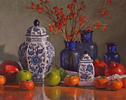 Still Life Pastels Prints - Ginger Jars Print by Sarah Blumenschein