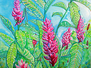 Pink Tapestries - Textiles Posters - Ginger Jungle Poster by Kelly     ZumBerge