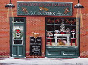 Primitive Folk Art Prints - Gingerbread Bakery at Fox Creek Print by Catherine Holman