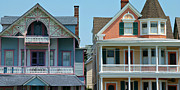 Wooden Building Art - Gingerbread Beach Homes Pano - Ocean Grove NJ by Anna Lisa Yoder