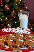 Cookies And Milk Prints - Gingerbread Cookies on Platter Print by Amy Cicconi